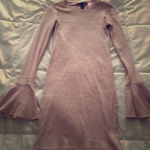 Light Pink Bodycon Dress with Flare Sleeves
